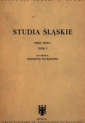 Studia Śląskie tom 1 - okładka