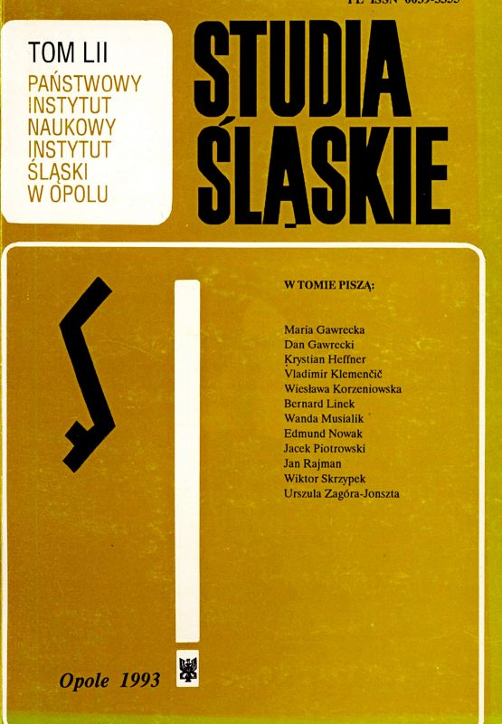 Studia Śląskie tom 52 - okładka