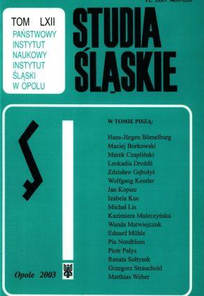 Studia Śląskie tom 62 - okładka