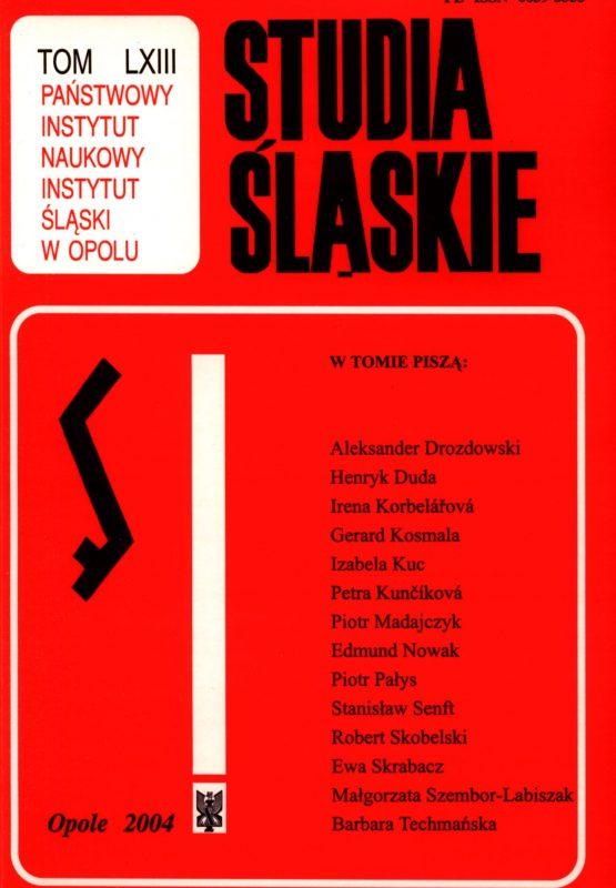 Studia Śląskie tom 63 - okładka
