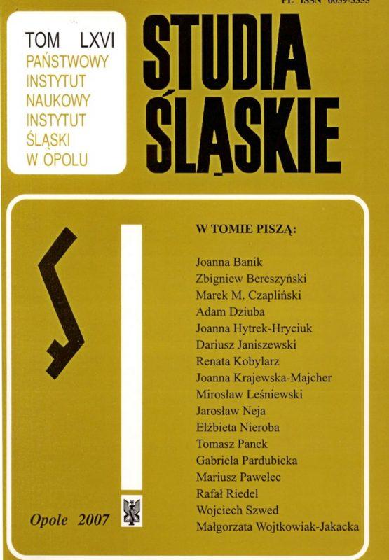 Studia Śląskie tom 66 - okładka