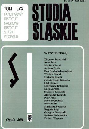 Studia Śląskie tom 70 - okładka