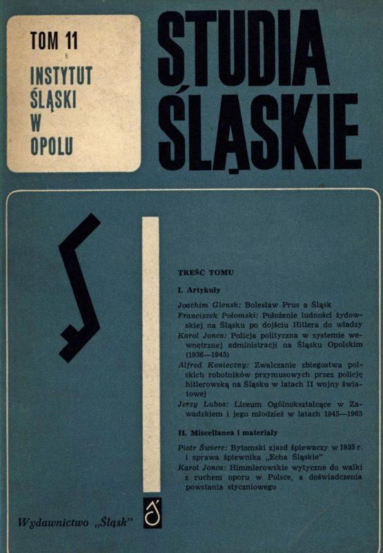 Studia Śląskie tom 11 - okładka