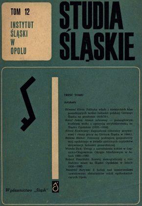 Studia Śląskie tom 12 - okładka