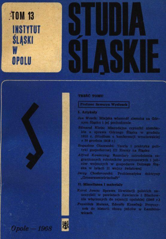 Studia Śląskie tom 13 - okładka