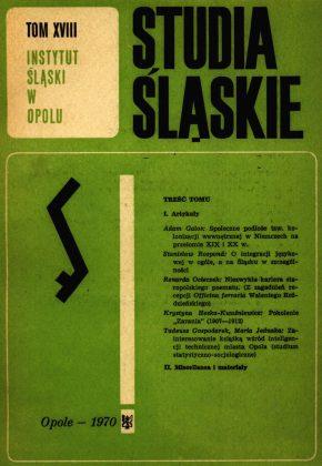Studia Śląskie tom 18 - okładka