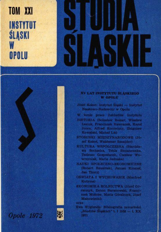Studia Śląskie tom 21 - okładka