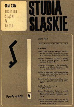 Studia Śląskie tom 24 - okładka