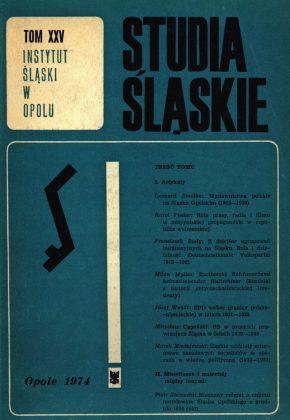 Studia Śląskie tom 25 - okładka