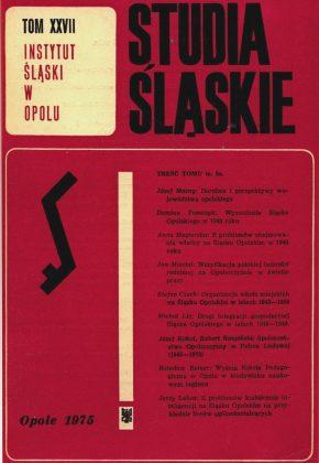 Studia Śląskie tom 27 - okładka