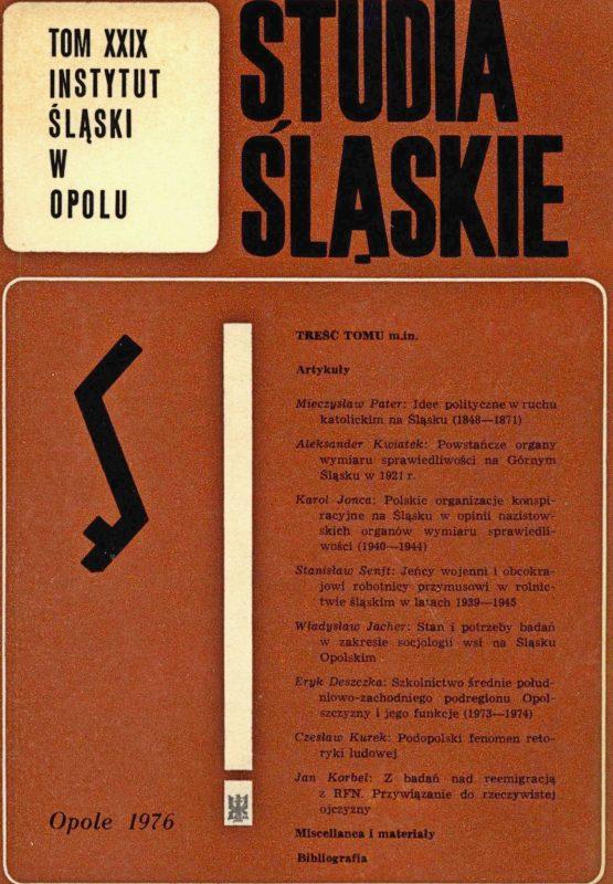 Studia Śląskie tom 29 - okładka