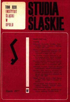 Studia Śląskie tom 31 - okładka
