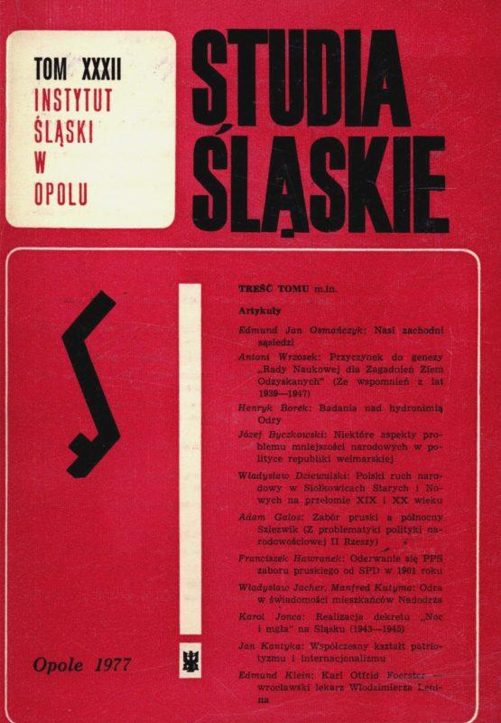 Studia Śląskie tom 32 - okładka