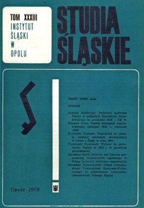 Studia Śląskie tom 33 - okładka