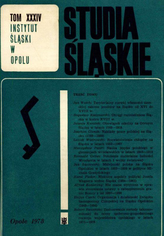 Studia Śląskie tom 34 - okładka