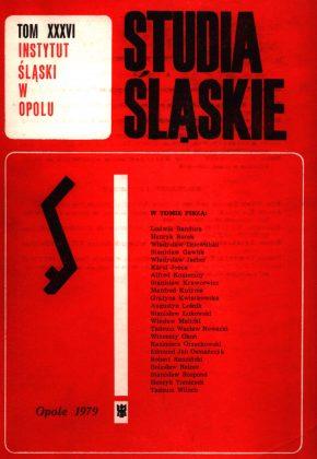 Studia Śląskie tom 36 - okładka