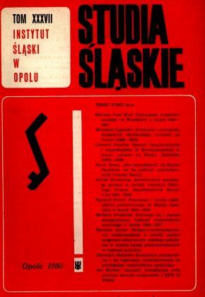Studia Śląskie tom 37 - okładka