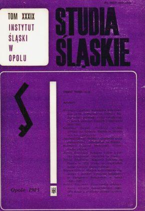 Studia Śląskie tom 39 - okładka