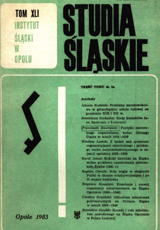 Studia Śląskie tom 41 - okładka