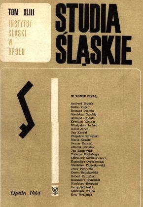 Studia Śląskie tom 43 - okładka