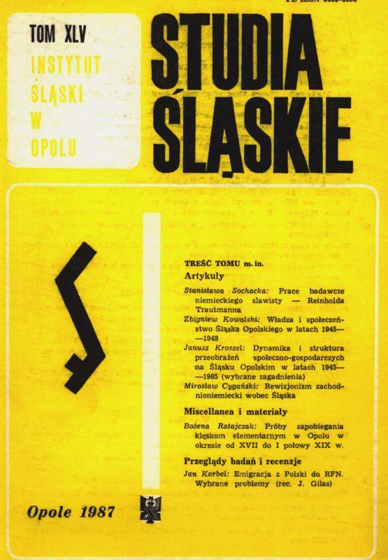 Studia Śląskie tom 45 - okładka