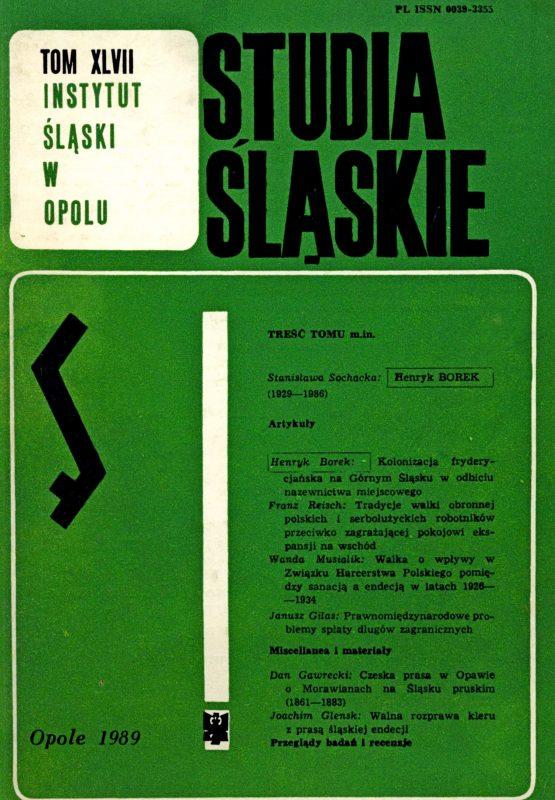 Studia Śląskie tom 47 - okładka