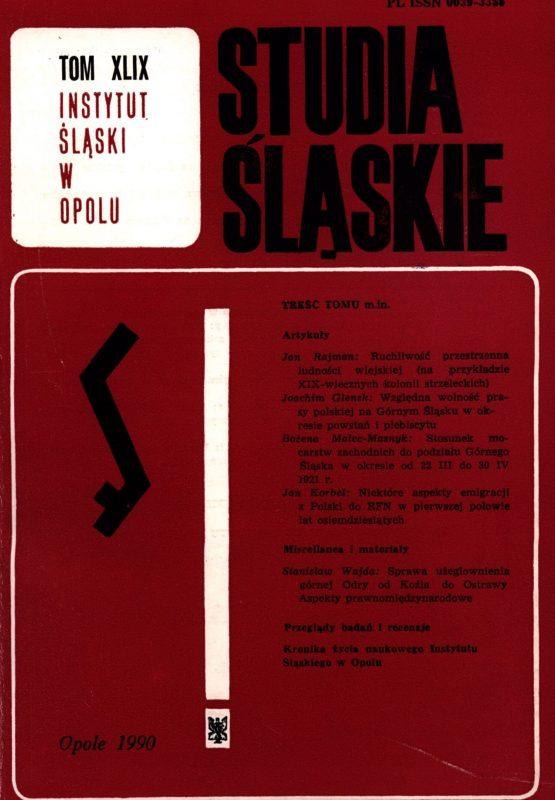 Studia Śląskie tom 49 - okładka